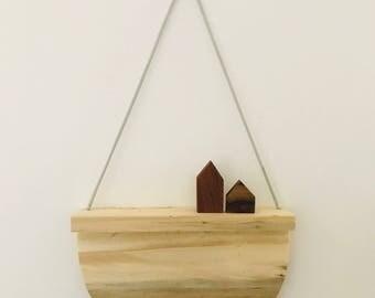 Wooden shelf, reclaimed wood, wall shelf, hanging shelf, display shelf, geometric, minimal shelf, minimalist