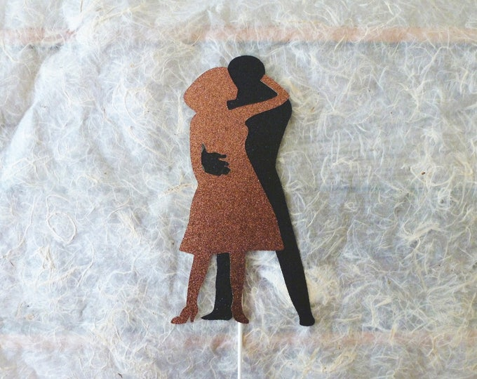 Featured listing image: Dirty Dancing Cake Topper Johnny and Baby Final Dance Black Bronze Copper Glitter Cake Decoration 80s Retro Romantic Throwback Party Decor