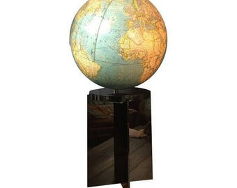 Mid-Century Lighted Globe on Black Pedestal