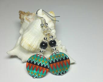 Shell Beaded Earrings, Orange Green Black Beaded Earrings, Silver Handmade Costume Jewellery, Gift for Her under 20, Silver Hook Earrings