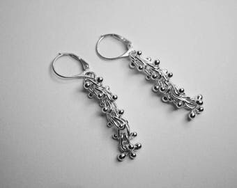 JE8. Fine Silver .999 Elegant Dangle Earrings Fused Ball Links with Leverback Ear Wires