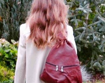 Leather Backpack DARK RED