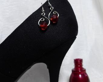Red Crystal Swarovski Wire Earrings