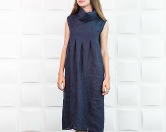 Linen dress. Warm black linen loose fitting dress.Every day dress. Black linen clothes.Loose fit dress. Summer linen dress/D0055