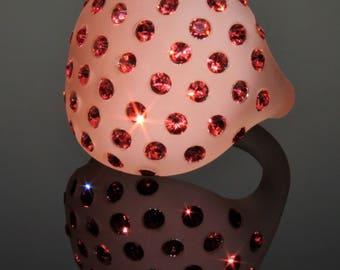 Ring, salmon satin, Swarovski crystals, borosilicate glass