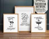 Funny bathroom art, PRINTABLE art, Bathroom wall decor, If you sprinkle when you tinkle, Bathroom prints, Flush toilet sign, Kids bathroom