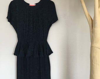 Silk Navy Peplum Floral Pattern Dress