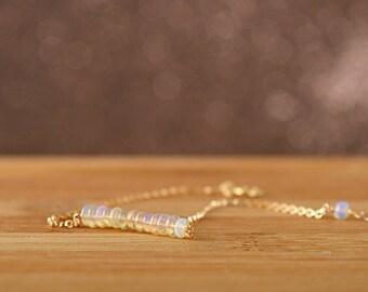 Natural Opal Bracelet, Welo Opal, Ethiopian Opal Chain Bracelet, October Birthstone, Delicate Bracelet 14k Rose Gold Filled Sterling Silver