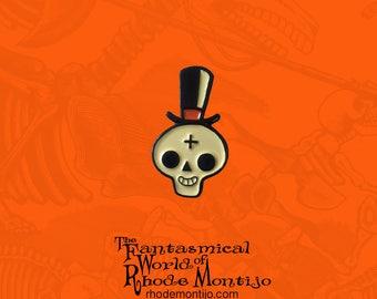 Gentleman Skull Halloween Enamel Pin by Rhode Montijo