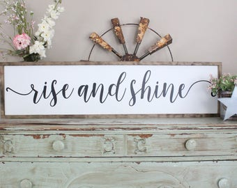 Rise And Shine Wood Sign, Distressed Wood Sign, Inspirational Home Decor, Good Morning Sign, Housewarming Gift Sign, Farmhouse Style Sign