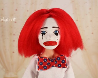 "Monster High Custom Repaint Art doll OOAK Deuce Gorgon ""The sad clown"""