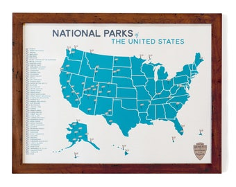 National Parks Map & Checklist | 18x24""
