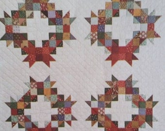"Quilt Wallhanging Pattern, COUNTRYSIDE WREATHS, Thimbleberries, Designed by Lynette Jensen, Measures 66"" x 66"" Block Size 22"" Awesome Design"