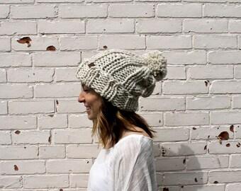 Super Slouchy Pom Pom Beanie | Knit Winter Hat