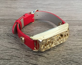 Red Leather Band for Fitbit Flex Activity Tracker Vegan Bracelet Gold Fitbit Flex Holder Fitness Activity Tracker Fitbit Flex Band