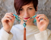 Long Turquoise and Jasper Beaded Necklace with Large Turquoise Focal Bead and Leather Tassel - Leather Tassel Necklace - Kay and Star