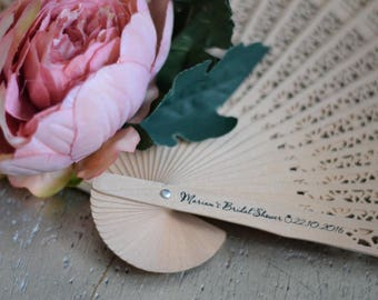 Personalised Wooden Fan x 30
