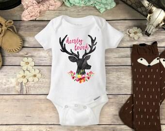 Baby Deer Onesies® Brand or Carter's® Shirt Baby Shower Gift Deer Antlers Shirt Hipster Baby Girl Clothes Antler Onsie Hunting Deerly Loved