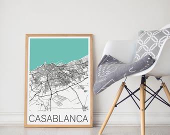 Casablanca Map/ Casablanca Morocco Map/Casablanca Morocco Poster/ Casablanca Print/ Casablanca Art/ Morocco Poster/ Casablanca / Casablanca