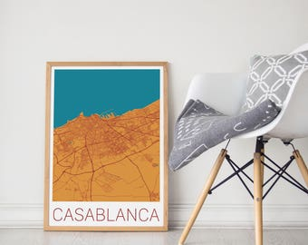 CASABLANCA, Morocco Map, City Map Print / modern minimalist, art design home office decor, map art, map poster, Casablanca Map Print/Morocco
