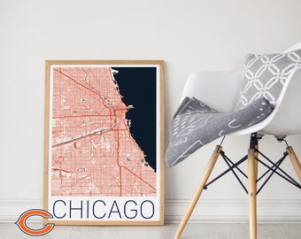 Chicago Bears Poster / Chicago Bears Print / Chicago Bears Map/ Chicago Bears Memorabilia/ Chicago Bears Wall Art