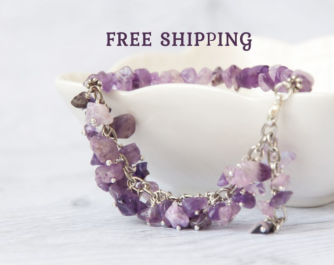 Raw amethyst bracelet, February birthstone jewelry, Purple bead bracelet / Birthstone bracelet for mom, Mother in law gift