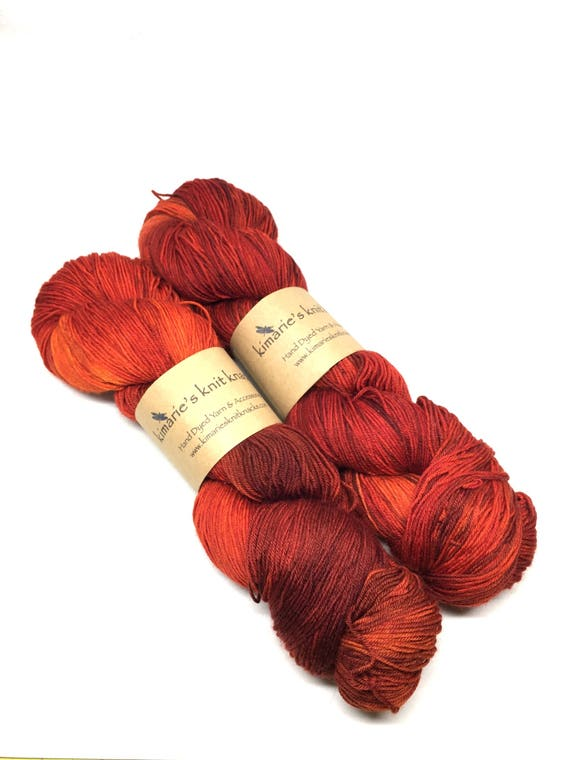 Hand Dyed Wool Yarn, Sock Yarn, Fingering Yarn_Red Maple