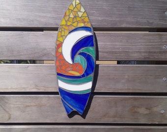 Outdoor mosaic, surfboard wall art, garden decor, gift for him