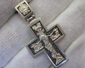 925 Sterling Silver Darkened Oxidized Detailed CROSS PENDANT Jesus Christ Crucifix Cyrillic Inscription Russian Prayer to Venerable Cross