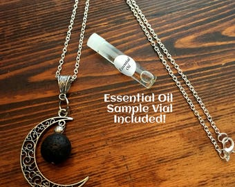 Aromatherapy Jewelry - Lava Stone Pendant Diffuser Necklace, Young Living or doTerra - Moon w/FREE Oil Sample!