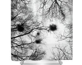 Black And White Shower Curtain, Tree Shower Curtain, Minimalist Bathroom,  Nature Decor,