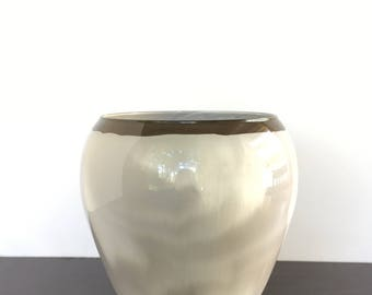Glass Vase Hand Painted (Brown, Tan, and White)