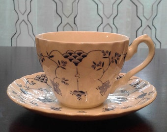 Myott Finlandia blue and white cup and saucer