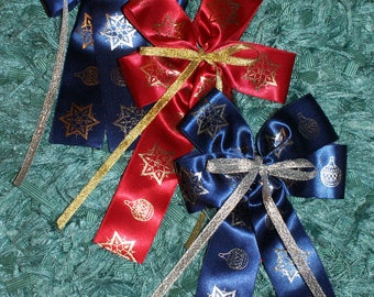 3 Christmas satin bows-navy/red/gold/silver-trees,wreaths decoration-handmade-last set