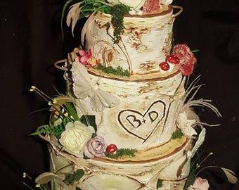 Wedding Cup Cake Wooden Sculpture 3 tier