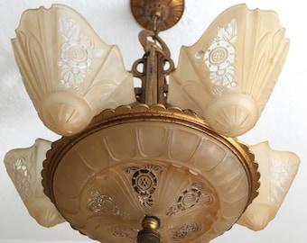 Rare slip shade chandelier ceiling fixture cast iron with antique slip shade chandelier ceiling fixture art nouveau restoredrewired original decor aloadofball Gallery