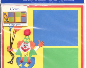 Just Jinger -  Happy Birthday - Clown with Balloons -  Pre-made 2 page spread - Acid & Lignin Free - Made in 2006, NIP/Unopened