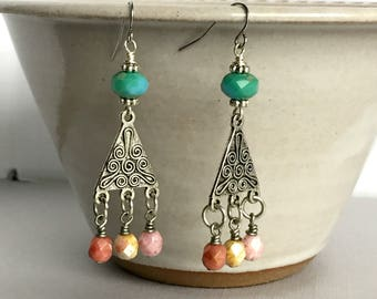 Boho Chandelier Earrings, Colorful Czech Glass Earrings, Summer Jewelry, Statement Earrings, Bohemian Jewelry