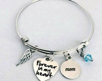 MOM Memorial Bracelet, Forever in my Heart, Loss of Mother, Remembrance Bracelet, Memorial Jewelry, Sympathy Gift