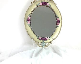 Vanity Wall Mirror - Ornate Hollywood Regency style - Grand Oval Framed Mirror - Handmade Entry Foyer Decor - Hanging Mirror - Christmas