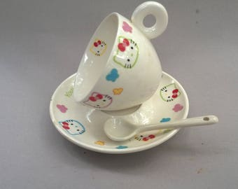 Hello Kitty teacup, saucer, teaspoon set