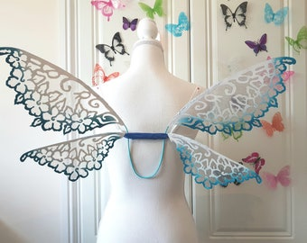 Flower Fairy Wings with Turquoise Tips - Wedding Wings -
