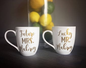 Engagement Gift / Future Mrs. & Lucky Mr. /Personalized Coffee Mugs / Bridal Shower gift /Couples Gift / Custom Mugs / His and Hers / Mr Mrs