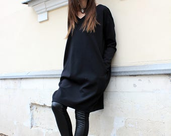 Black Dress/ Tunic Dress/ Long Sleeve Dress/ Mini Dress/ Oversize Dress/ Loose Dress/ Womens Tunic/ Midi Dress/ Designer Clothing/ R00040
