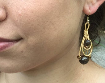 Bronzite Gemstone Faux Leather and Seed Bead Braided Drop Earrings