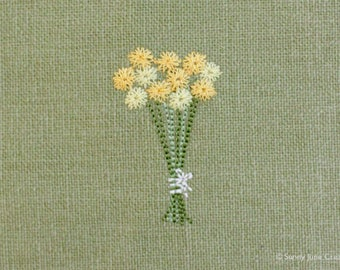 Machine embroidered pattern design flowers - instant download