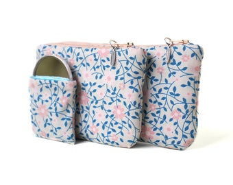 Trio Pack: wallet, glasses case, mirror in fabric patterns was pastel floral salmon pink leaves
