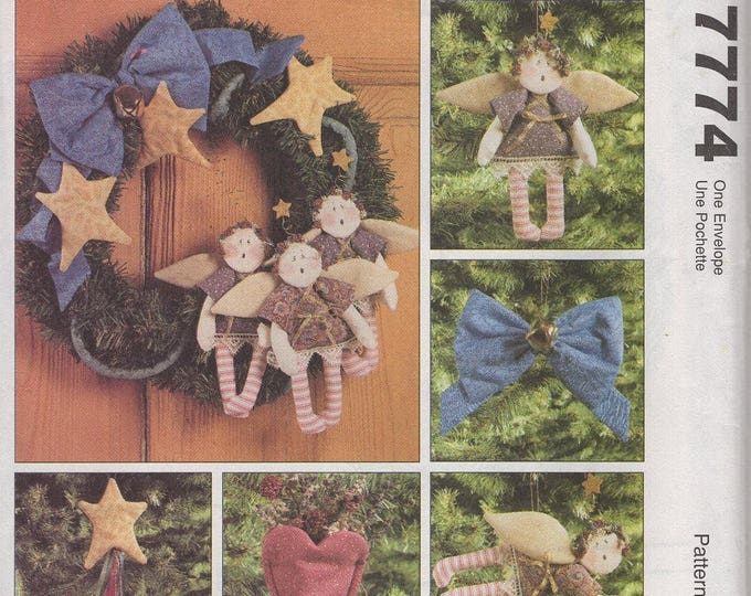 Free Us Ship Sewing Pattern McCall's 7774  Guardian Angel Christmas Primitive Retro 1990s 90's Uncut Wreath Heart Whimsey Ornaments Stocking