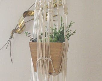 Long double plant hanger with wood beads
