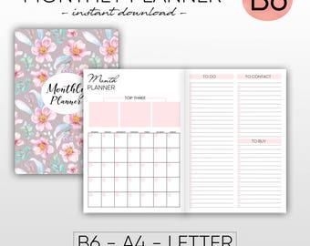 B6 inserts, B6 travelers notebook, B6 printable inserts, B6 planner, B6 cover, Midori inserts, Midori travelers, midori month monthly insert